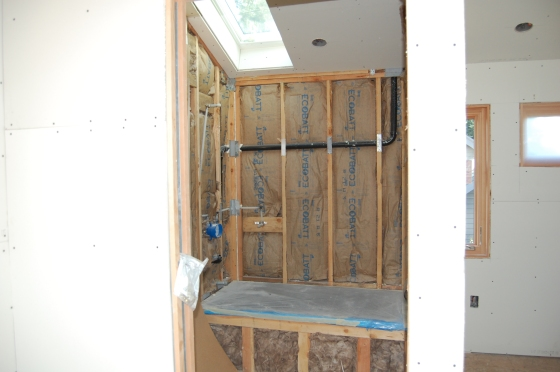 the master bath. all the uncovered portion will be covered with calcutta marble